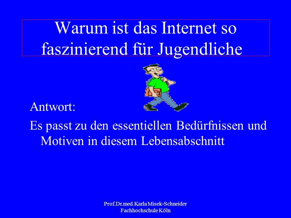 Prof.Dr.med.Karla Misek-Schneider Fachhochschule Köln Viel-Internetnutzer Alle Studien zeigen: diejenigen Jugendlichen, die viel das Internet nutzen h