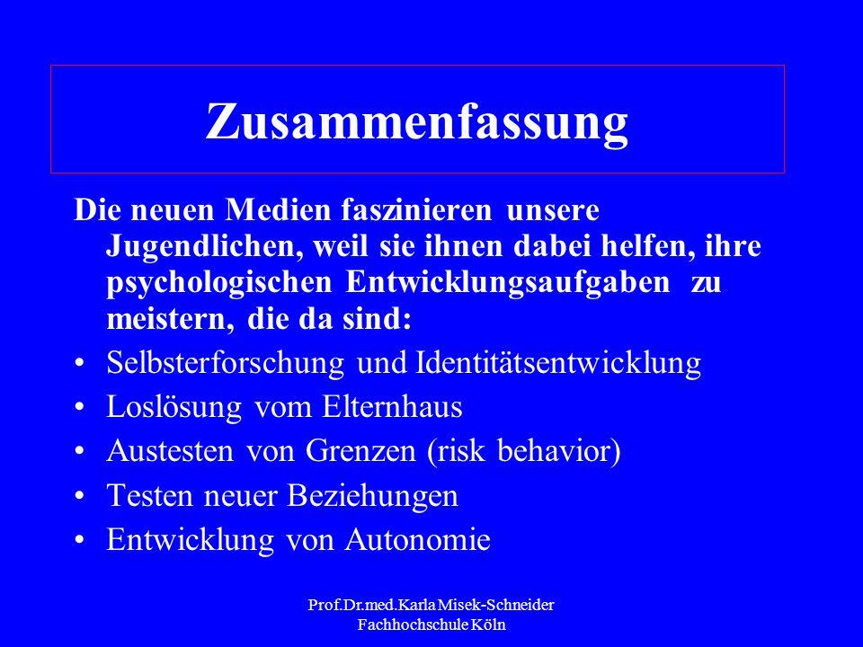 Prof.Dr.med.Karla Misek-Schneider Fachhochschule Köln High risk young adolescent Zeigt Abhängigkeitszeichen Zeigt Leistungsprobleme Hat deutliche sozi
