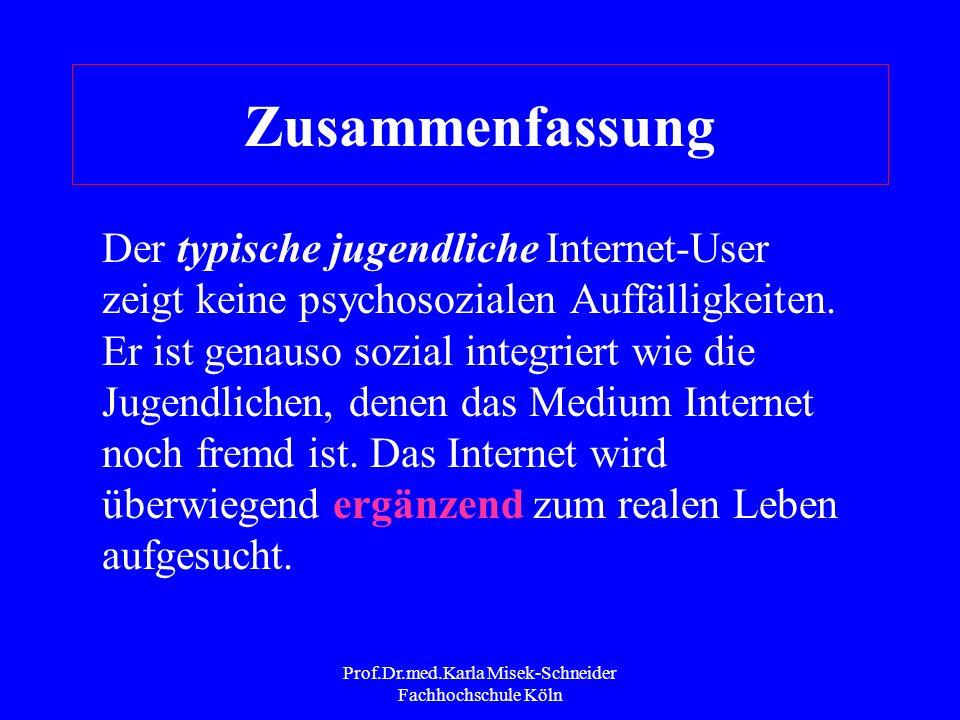 Prof.Dr.med.Karla Misek-Schneider Fachhochschule Köln Zusammenfassung Das Internet ist eine Art Spiegel und Experimentierfeld für Jugendliche; es dien
