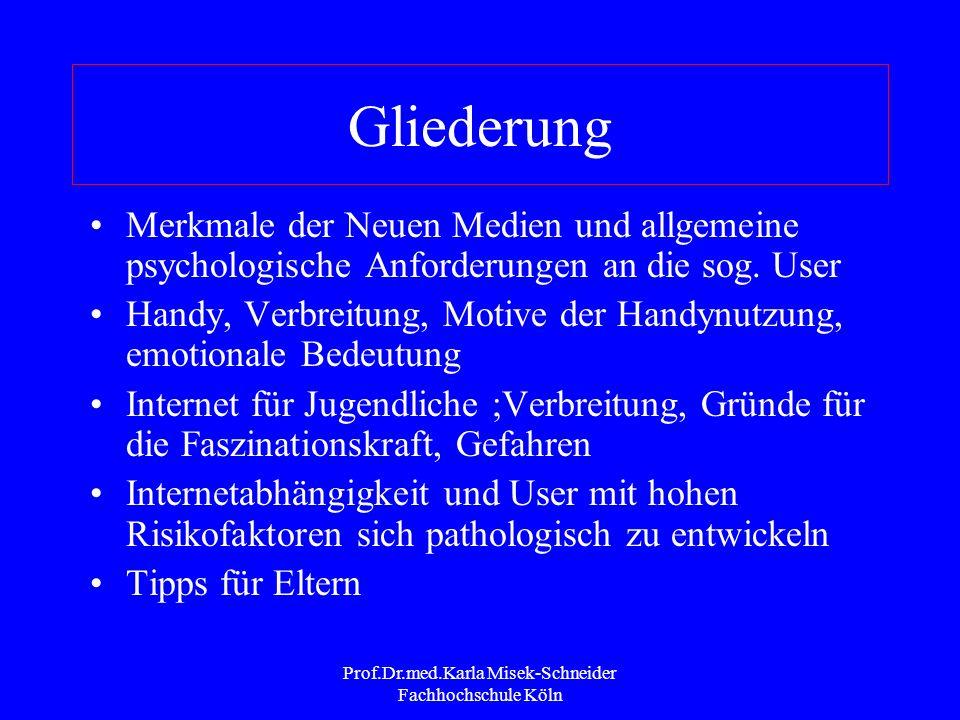 Prof.Dr.med.Karla Misek-Schneider Fachhochschule Köln Auswirkungen der Internet- Nutzung Erwerb neuer Fertigkeiten und Kompetenzen Erwerb von Wissen Interkulturelle Begegnungen Erforschung sozialer Fertigkeiten und Identitäten Zugehörigkeitsgefühl Internetabhängigkeit