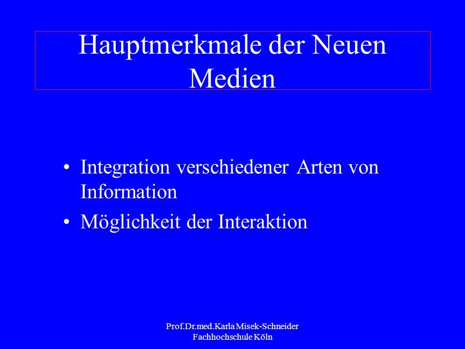Prof.Dr.med.Karla Misek-Schneider Fachhochschule Köln Merkmale der Neuen Medien nach Holly 2000 Speicherkapazität Entlinearisierung Überwindung von Ze