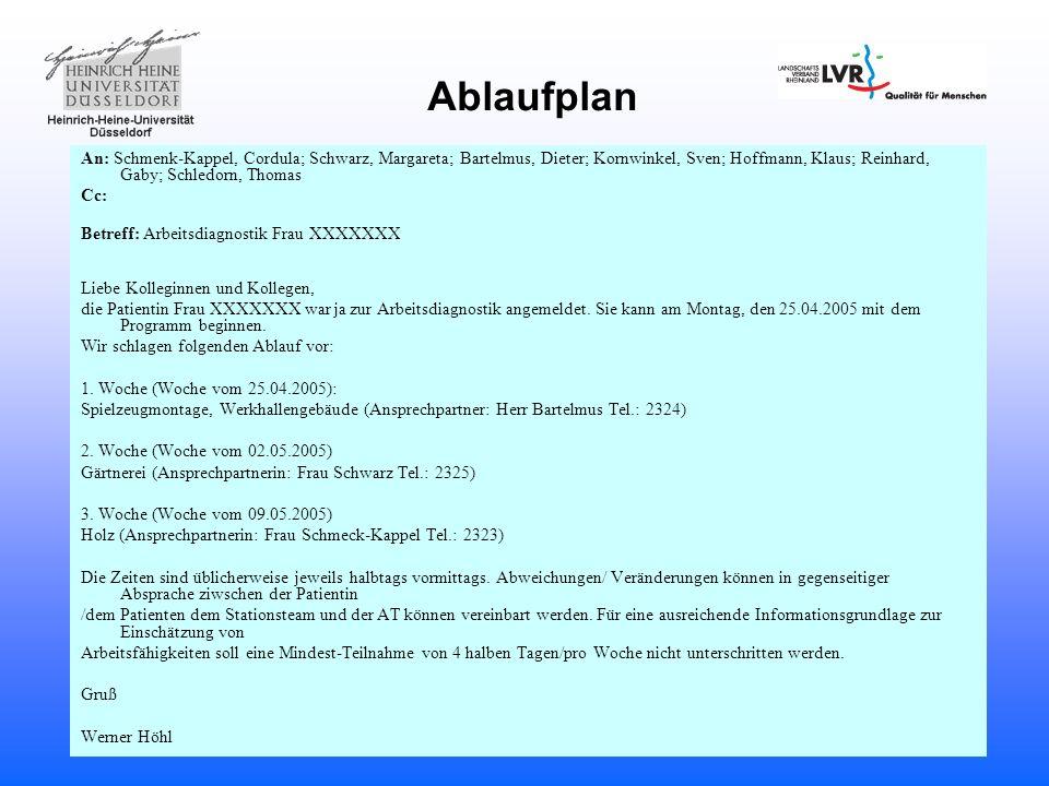 Ablaufplan An: Schmenk-Kappel, Cordula; Schwarz, Margareta; Bartelmus, Dieter; Kornwinkel, Sven; Hoffmann, Klaus; Reinhard, Gaby; Schledorn, Thomas Cc