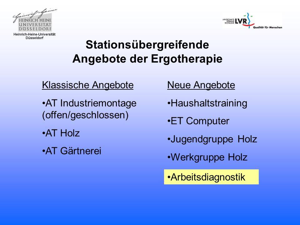 Stationsübergreifende Angebote der Ergotherapie Klassische Angebote AT Industriemontage (offen/geschlossen) AT Holz AT Gärtnerei Neue Angebote Haushal