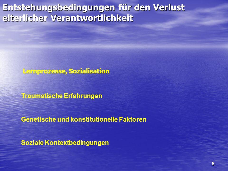 6 Entstehungsbedingungen für den Verlust elterlicher Verantwortlichkeit Lernprozesse, Sozialisation Genetische und konstitutionelle Faktoren Traumatis