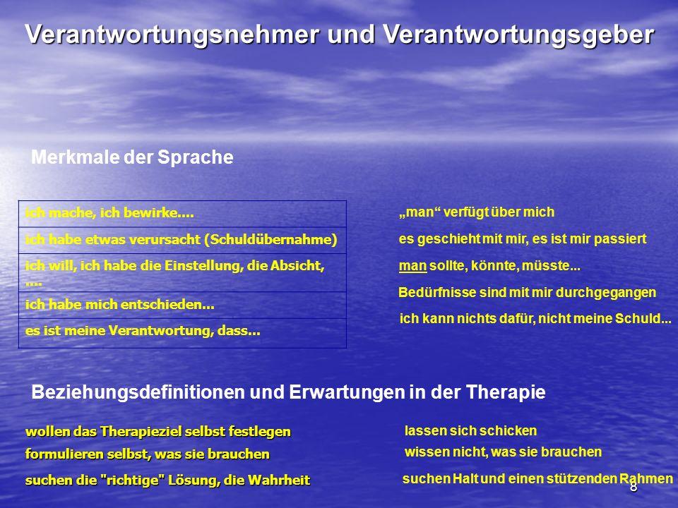 8 Verantwortungsnehmer und Verantwortungsgeber Beziehungsdefinitionen und Erwartungen in der Therapie wollen das Therapieziel selbst festlegen formuli