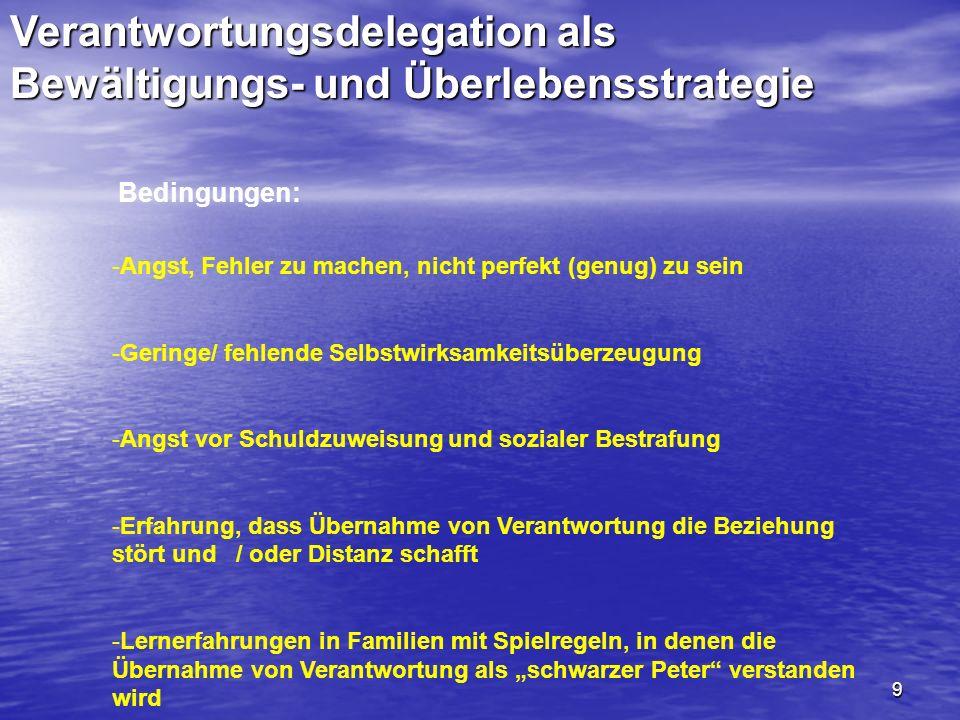 9 Verantwortungsdelegation als Bewältigungs- und Überlebensstrategie Bedingungen: -Angst, Fehler zu machen, nicht perfekt (genug) zu sein -Geringe/ fe