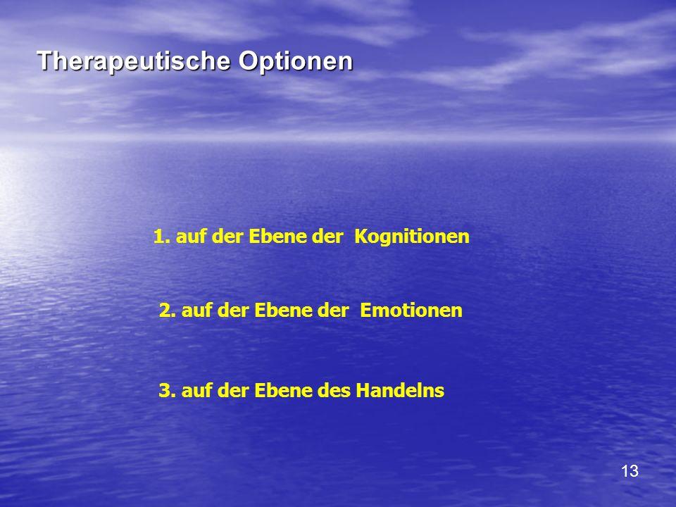 Therapeutische Optionen 1. auf der Ebene der Kognitionen 2. auf der Ebene der Emotionen 3. auf der Ebene des Handelns 13