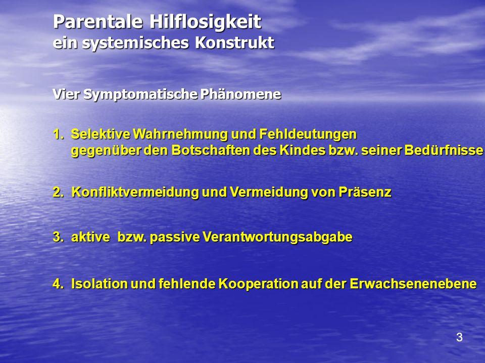 Vier Symptomatische Phänomene 4. Isolation und fehlende Kooperation auf der Erwachsenenebene 3. aktive bzw. passive Verantwortungsabgabe 2. Konfliktve