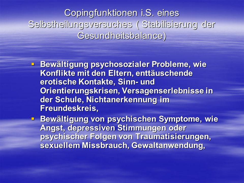 Copingfunktionen i.S. eines Selbstheilungsversuches ( Stabilisierung der Gesundheitsbalance) Bewältigung psychosozialer Probleme, wie Konflikte mit de