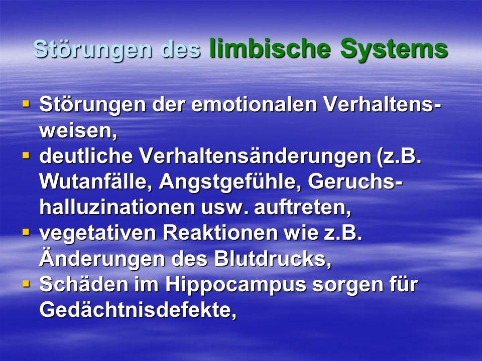 Störungen des limbische Systems Störungen der emotionalen Verhaltens- weisen, Störungen der emotionalen Verhaltens- weisen, deutliche Verhaltensänderu