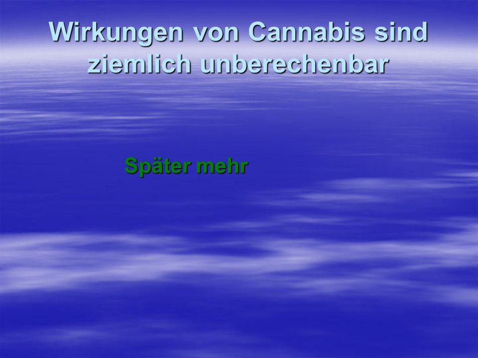 Wirkungen von Cannabis sind ziemlich unberechenbar Später mehr Später mehr