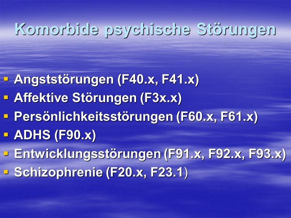 Komorbide psychische Störungen Angststörungen (F40.x, F41.x) Angststörungen (F40.x, F41.x) Affektive Störungen (F3x.x) Affektive Störungen (F3x.x) Per