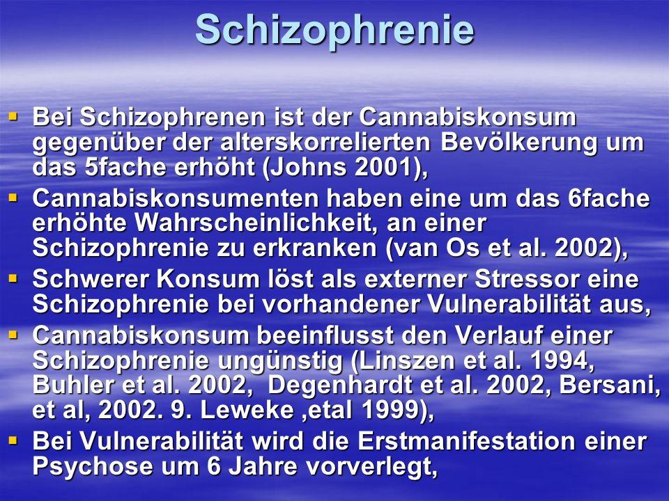 Schizophrenie Bei Schizophrenen ist der Cannabiskonsum gegenüber der alterskorrelierten Bevölkerung um das 5fache erhöht (Johns 2001), Bei Schizophren