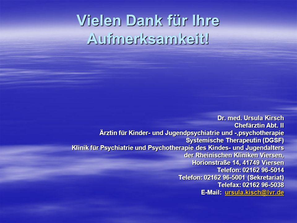 Vielen Dank für Ihre Aufmerksamkeit! Dr. med. Ursula Kirsch Chefärztin Abt. II Ärztin für Kinder- und Jugendpsychiatrie und -,psychotherapie Systemisc