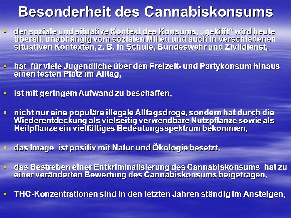 Besonderheit des Cannabiskonsums der soziale und situative Kontext des Konsums, gekifft wird heute überall, unabhängig vom sozialen Milieu und auch in