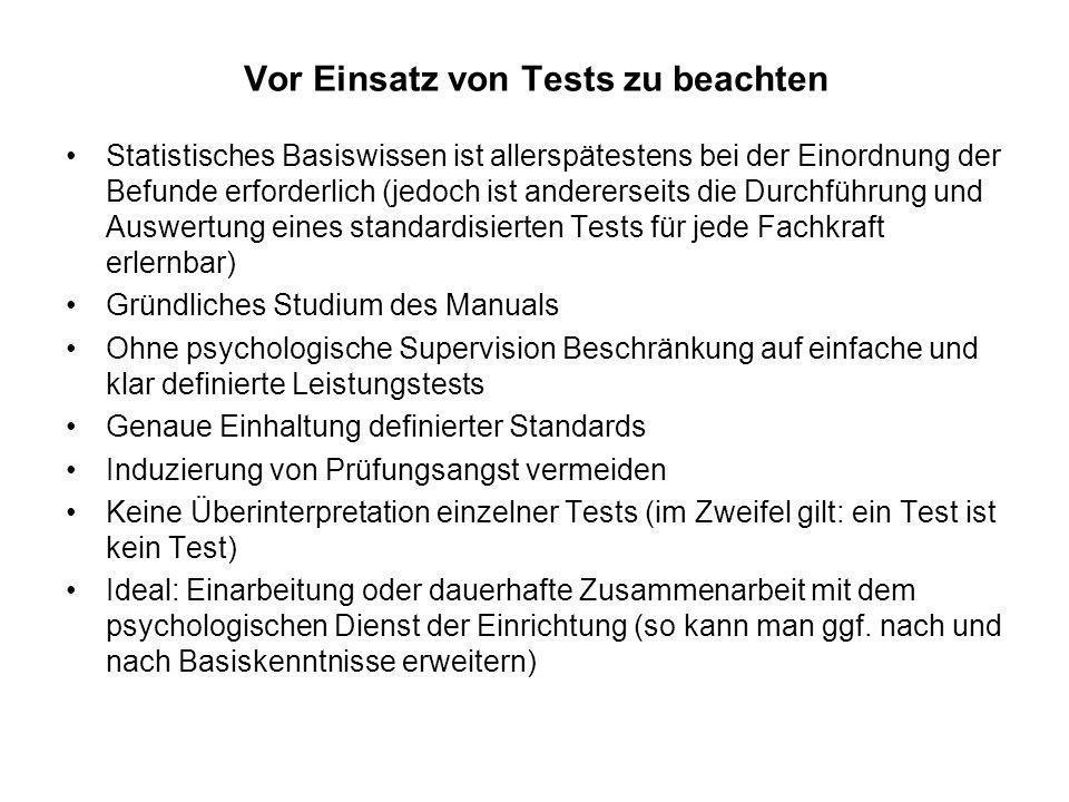 Einige Beispiele für Tests, die im Rahmen ergo-(arbeits-) therapeutischer Maßnahmen Gewinn bringend eingesetzt werden können: 1.Figure Reasoning Test (FRT) 2.Aufmerksamkeits-Belastungs-Test d2 3.Revidierter Büroarbeitstest (ABAT-R) 4.Bürotest (BT) 5.Mechanisch-Technischer Verständnistest (M-T-V-T) 6.PTV (Praktisch-technisches Verständnis) 7.Drahtbiegeprobe (1+2 ggf.