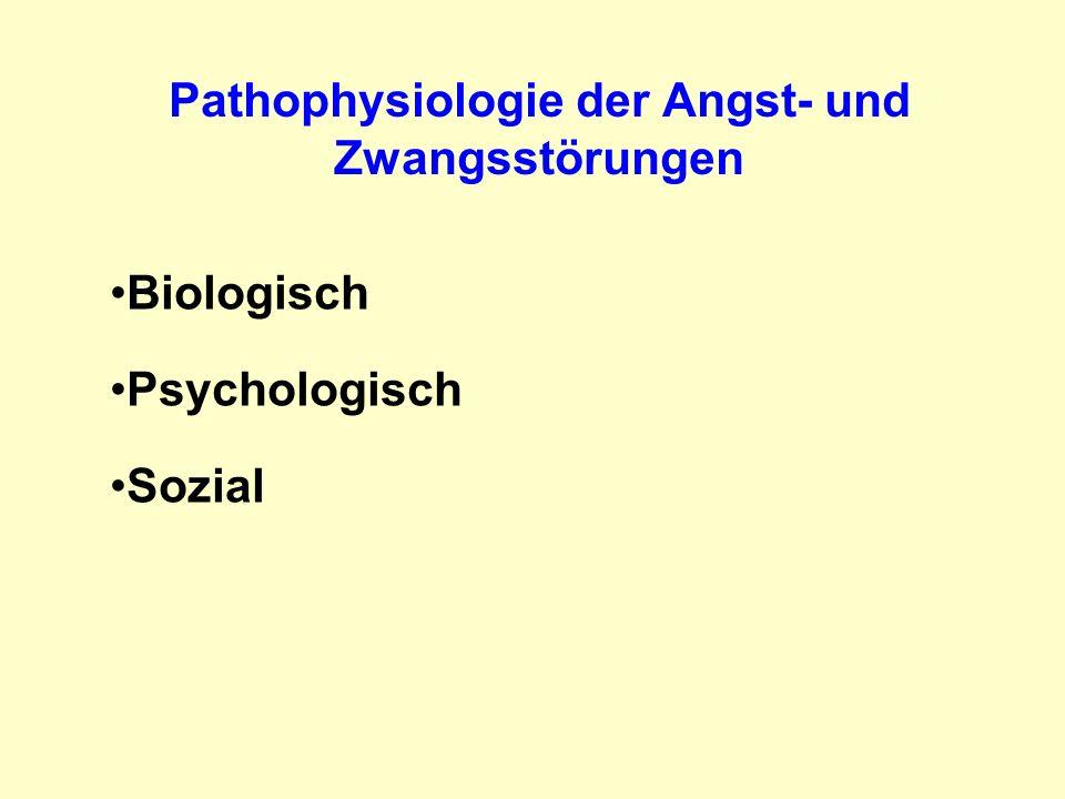 Pathophysiologie der Angst- und Zwangsstörungen Angststörungen:Amygdala, pPFC, ACC, Insula Zwangsstörungen:kognitives präfrontal-striatales Netzwerk affektives ventrales orbitofrontal-striatales Netzwerk