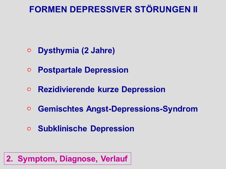 FORMEN DEPRESSIVER STÖRUNGEN II Dysthymia (2 Jahre) Postpartale Depression Rezidivierende kurze Depression Gemischtes Angst-Depressions-Syndrom Subkli