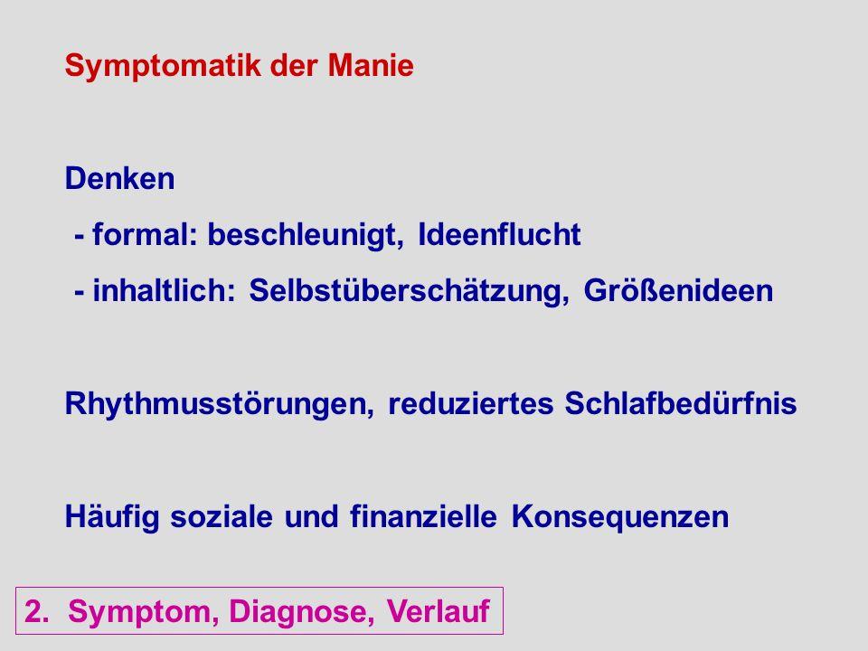 Symptomatik der Manie Denken - formal: beschleunigt, Ideenflucht - inhaltlich: Selbstüberschätzung, Größenideen Rhythmusstörungen, reduziertes Schlafb