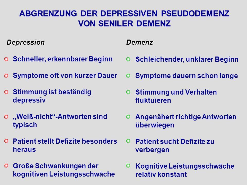 ABGRENZUNG DER DEPRESSIVEN PSEUDODEMENZ VON SENILER DEMENZ Depression Schneller, erkennbarer Beginn Symptome oft von kurzer Dauer Stimmung ist beständ