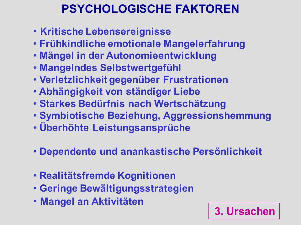 PSYCHOLOGISCHE FAKTOREN Kritische Lebensereignisse Frühkindliche emotionale Mangelerfahrung Mängel in der Autonomieentwicklung Mangelndes Selbstwertge