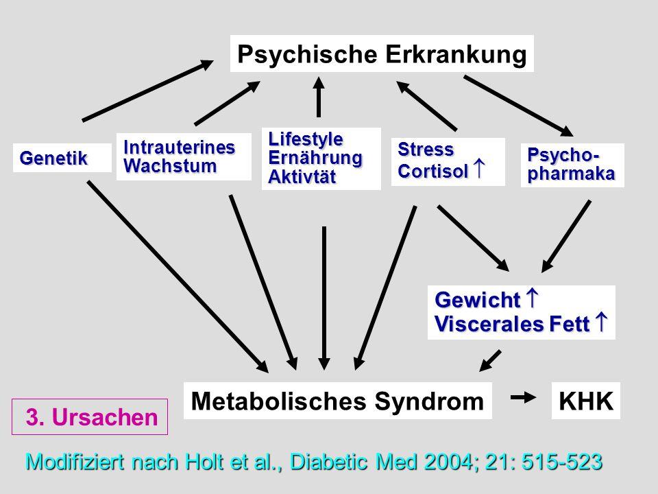Modifiziert nach Holt et al., Diabetic Med 2004; 21: 515-523 Psychische Erkrankung Metabolisches Syndrom Genetik IntrauterinesWachstum LifestyleErnähr