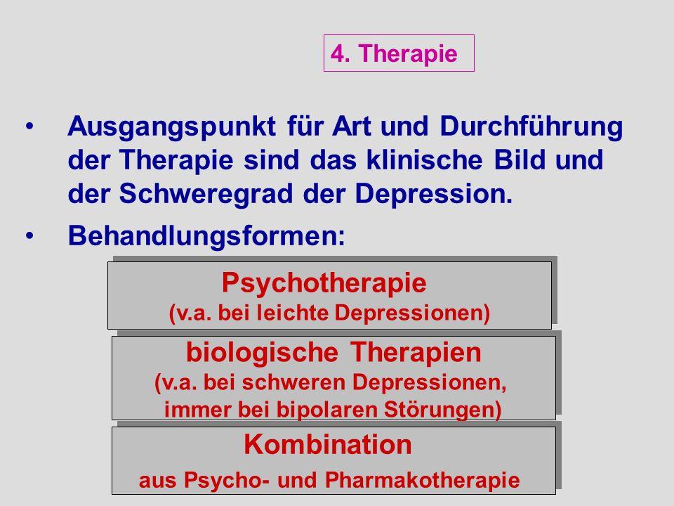 Ausgangspunkt für Art und Durchführung der Therapie sind das klinische Bild und der Schweregrad der Depression. Behandlungsformen: Psychotherapie (v.a