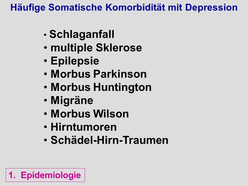 Häufige Somatische Komorbidität mit Depression Schlaganfall multiple Sklerose Epilepsie Morbus Parkinson Morbus Huntington Migräne Morbus Wilson Hirnt