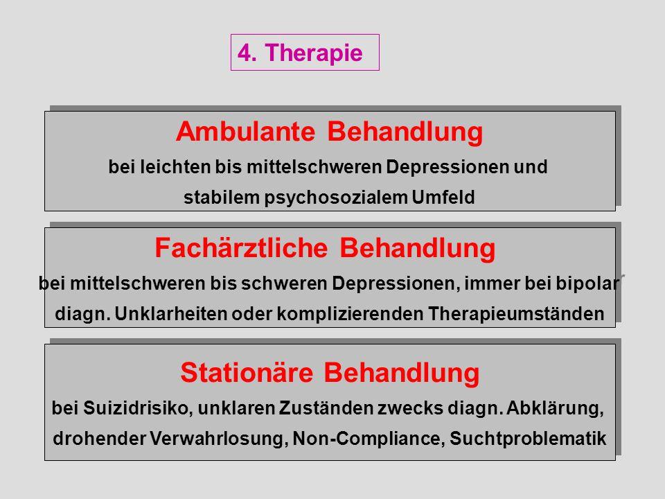 Ambulante Behandlung bei leichten bis mittelschweren Depressionen und stabilem psychosozialem Umfeld Ambulante Behandlung bei leichten bis mittelschwe