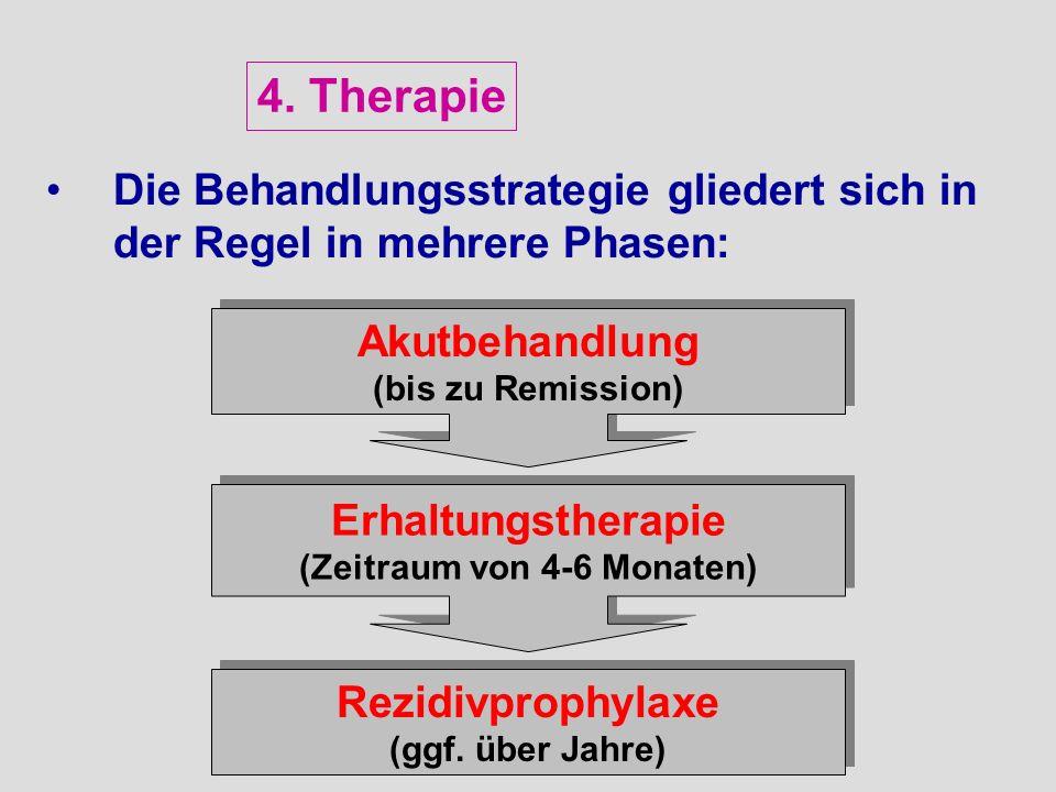 Die Behandlungsstrategie gliedert sich in der Regel in mehrere Phasen: Erhaltungstherapie (Zeitraum von 4-6 Monaten) Erhaltungstherapie (Zeitraum von