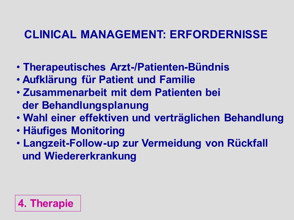 CLINICAL MANAGEMENT: ERFORDERNISSE Therapeutisches Arzt-/Patienten-Bündnis Aufklärung für Patient und Familie Zusammenarbeit mit dem Patienten bei der