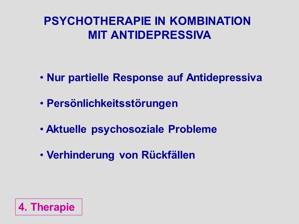 PSYCHOTHERAPIE IN KOMBINATION MIT ANTIDEPRESSIVA Nur partielle Response auf Antidepressiva Persönlichkeitsstörungen Aktuelle psychosoziale Probleme Ve