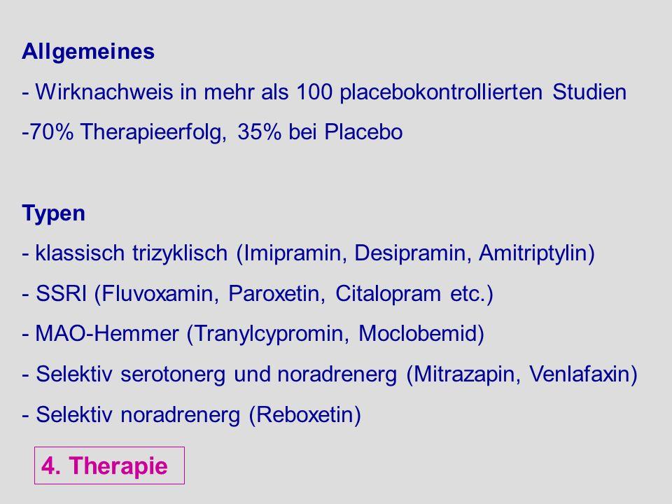 Allgemeines - Wirknachweis in mehr als 100 placebokontrollierten Studien -70% Therapieerfolg, 35% bei Placebo Typen - klassisch trizyklisch (Imipramin