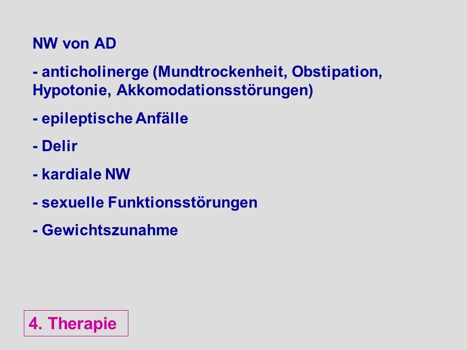 NW von AD - anticholinerge (Mundtrockenheit, Obstipation, Hypotonie, Akkomodationsstörungen) - epileptische Anfälle - Delir - kardiale NW - sexuelle F