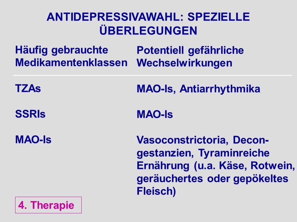 ANTIDEPRESSIVAWAHL: SPEZIELLE ÜBERLEGUNGEN Häufig gebrauchte Medikamentenklassen TZAs SSRIs MAO-Is Potentiell gefährliche Wechselwirkungen MAO-Is, Ant