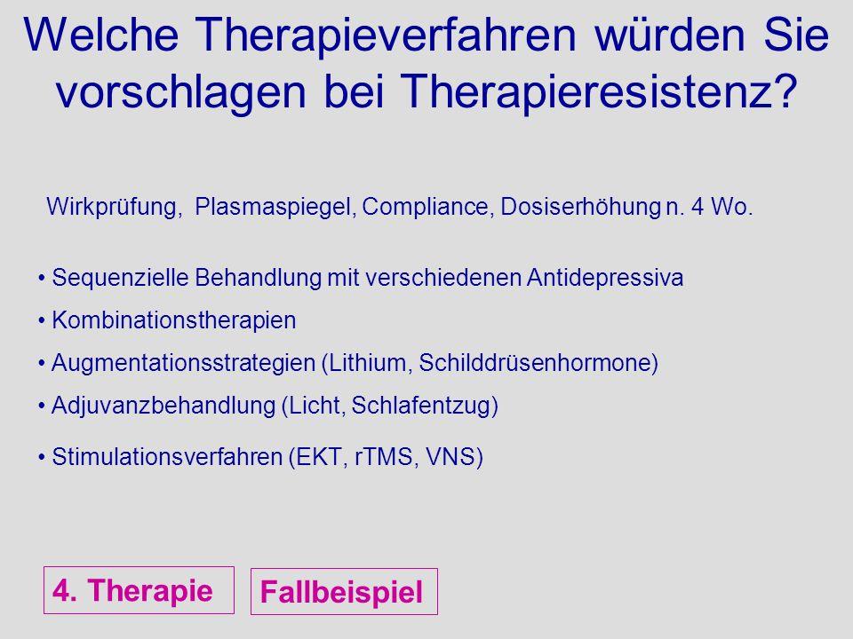 Welche Therapieverfahren würden Sie vorschlagen bei Therapieresistenz? Wirkprüfung, Plasmaspiegel, Compliance, Dosiserhöhung n. 4 Wo. Sequenzielle Beh