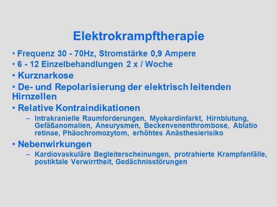 Elektrokrampftherapie Frequenz 30 - 70Hz, Stromstärke 0,9 Ampere 6 - 12 Einzelbehandlungen 2 x / Woche Kurznarkose De- und Repolarisierung der elektri