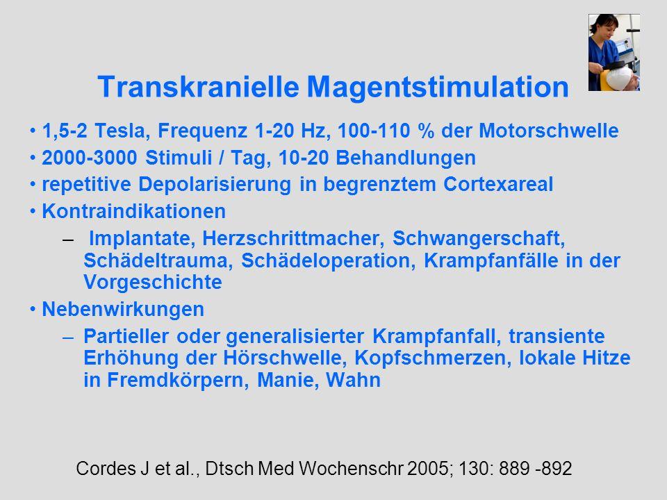 Transkranielle Magentstimulation 1,5-2 Tesla, Frequenz 1-20 Hz, 100-110 % der Motorschwelle 2000-3000 Stimuli / Tag, 10-20 Behandlungen repetitive Dep