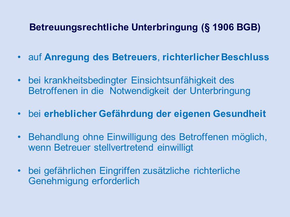 Betreuungsrechtliche Unterbringung (§ 1906 BGB) auf Anregung des Betreuers, richterlicher Beschluss bei krankheitsbedingter Einsichtsunfähigkeit des B