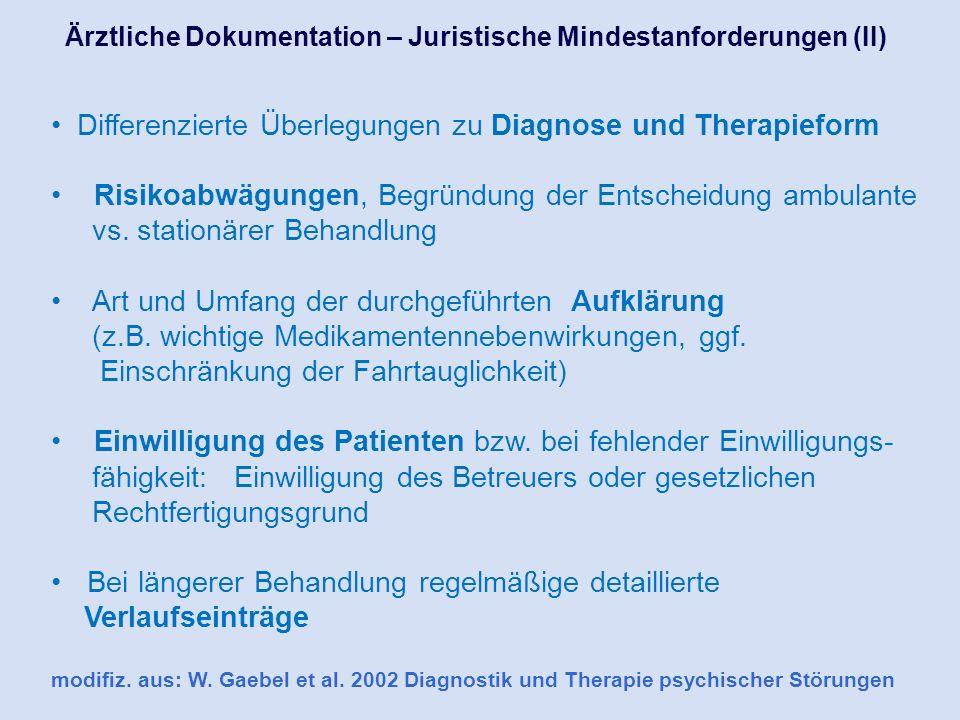 Differenzierte Überlegungen zu Diagnose und Therapieform Risikoabwägungen, Begründung der Entscheidung ambulante vs. stationärer Behandlung Art und Um