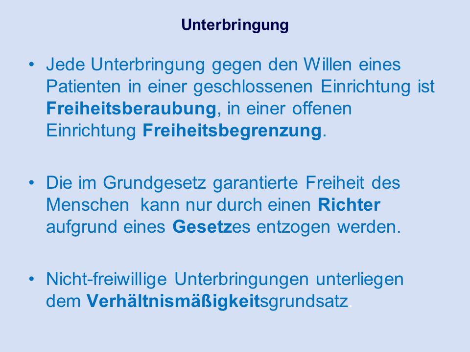 Unterbringungsformen in einer geschlossenen psychiatrischen Einrichtung und Rechtsgrundlagen UnterbringungsartRechtsgrundlage freiwillig öffentlich-rechtlichPsychKG NRW, u.a.