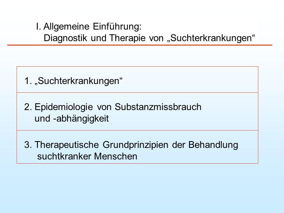 Substanzgebundene Abhängigkeitserkrankungen I.Diagnostik und allgemeine Therapieprinzipien II.