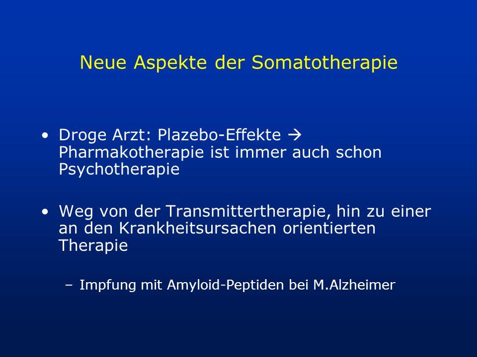 Neue Aspekte der Somatotherapie Droge Arzt: Plazebo-Effekte Pharmakotherapie ist immer auch schon Psychotherapie Weg von der Transmittertherapie, hin
