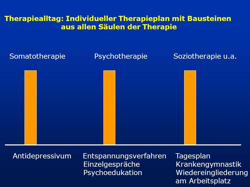 Somatotherapie Psychotherapie Soziotherapie u.a. Antidepressivum Entspannungsverfahren Tagesplan Einzelgespräche Krankengymnastik Psychoedukation Wied
