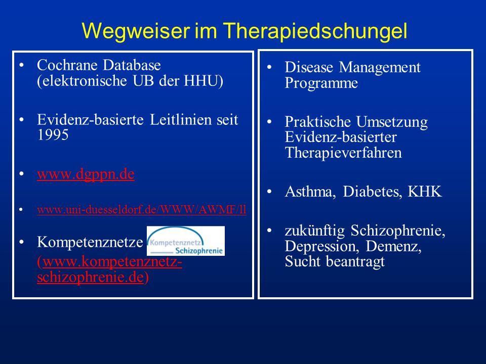 Wegweiser im Therapiedschungel Cochrane Database (elektronische UB der HHU) Evidenz-basierte Leitlinien seit 1995 www.dgppn.de www.uni-duesseldorf.de/