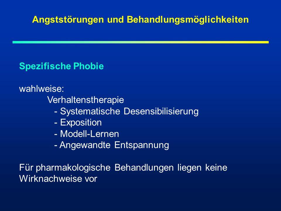 Spezifische Phobie wahlweise: Verhaltenstherapie - Systematische Desensibilisierung - Exposition - Modell-Lernen - Angewandte Entspannung Für pharmako