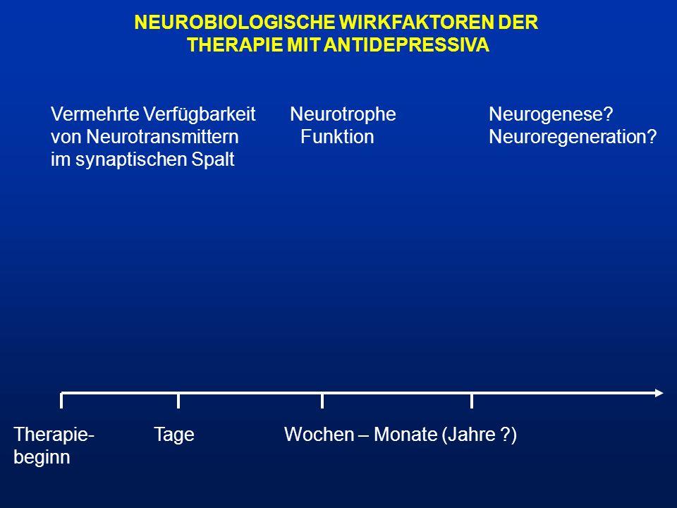 NEUROBIOLOGISCHE WIRKFAKTOREN DER THERAPIE MIT ANTIDEPRESSIVA Therapie- TageWochen – Monate (Jahre ?) beginn Vermehrte Verfügbarkeit Neurotrophe Neuro