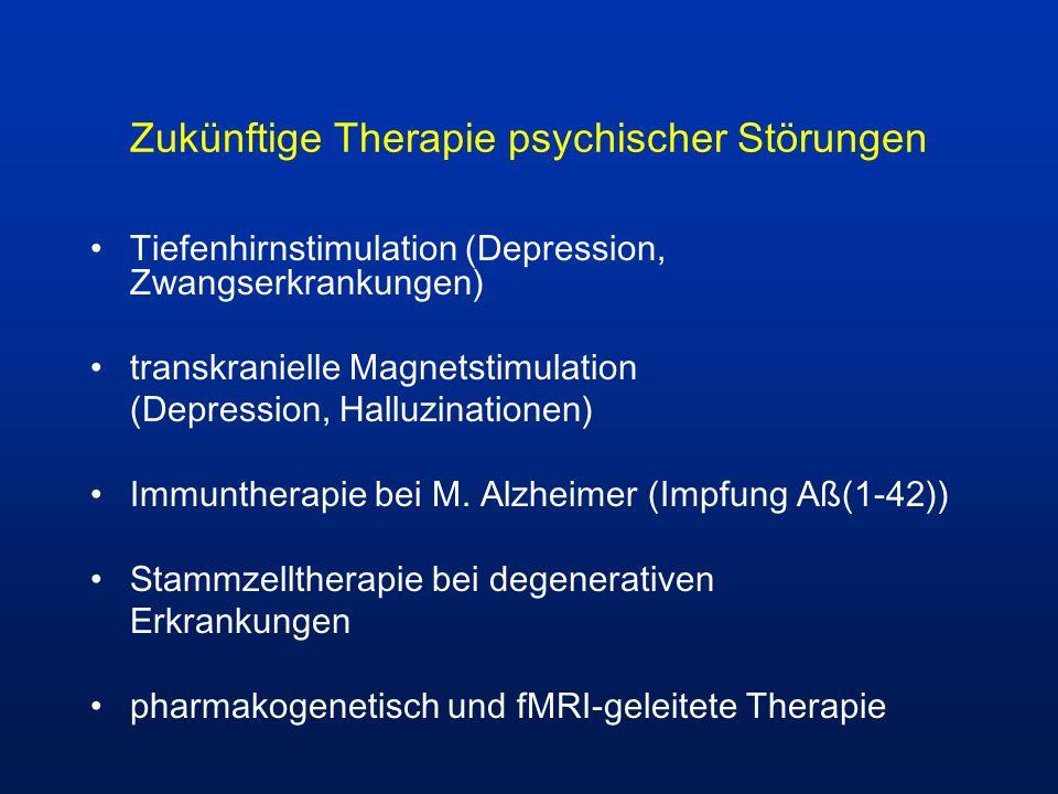 Zukünftige Therapie psychischer Störungen Tiefenhirnstimulation (Depression, Zwangserkrankungen) transkranielle Magnetstimulation (Depression, Halluzi