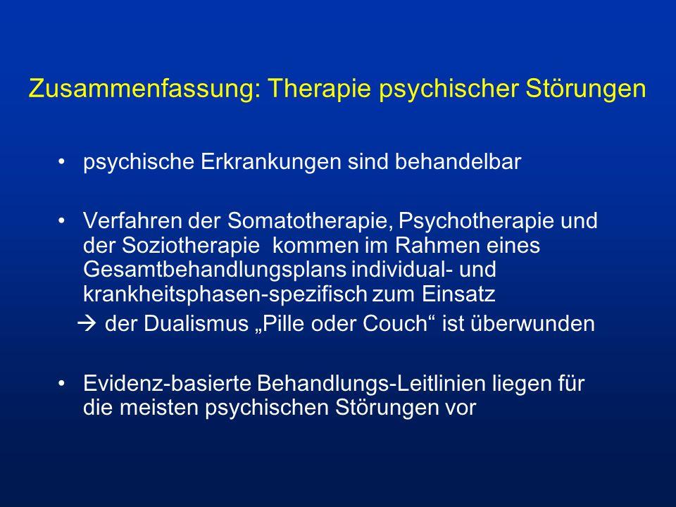 Zusammenfassung: Therapie psychischer Störungen psychische Erkrankungen sind behandelbar Verfahren der Somatotherapie, Psychotherapie und der Soziothe