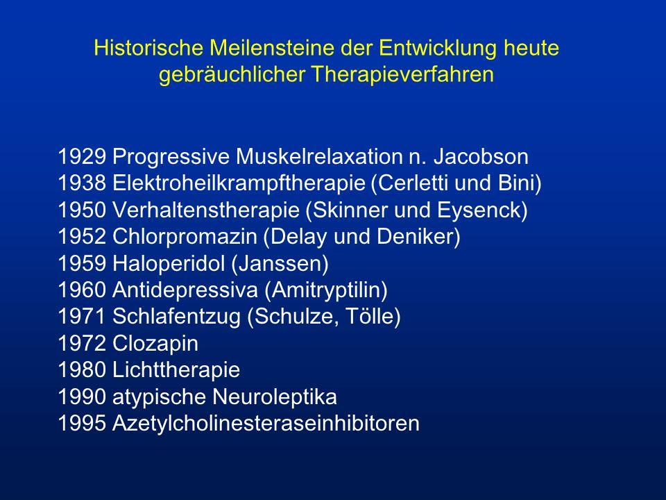 Historische Meilensteine der Entwicklung heute gebräuchlicher Therapieverfahren 1929 Progressive Muskelrelaxation n. Jacobson 1938 Elektroheilkrampfth